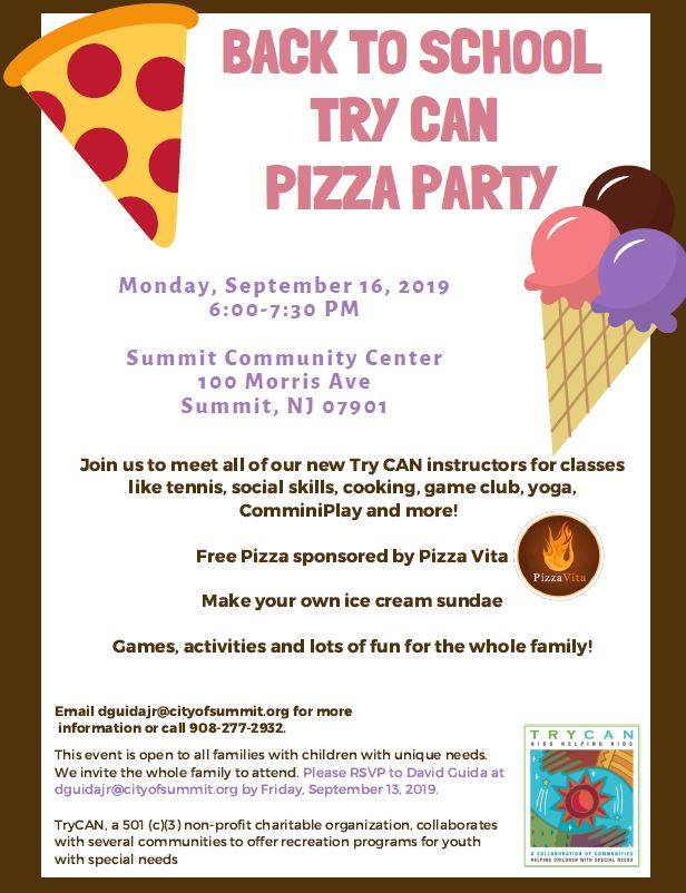 Try Can Back To School Pizza Party