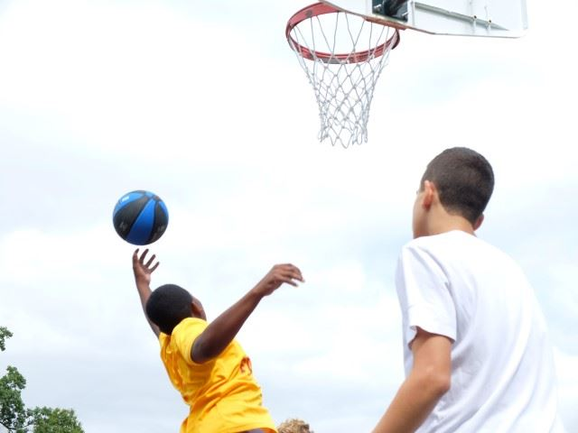 Basketball players at Mabie Playground